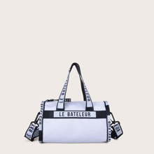Letter Graphic Barrel Bag