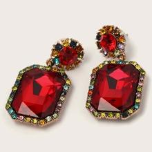 1pair Gemstone Decor Geometric Drop Earrings