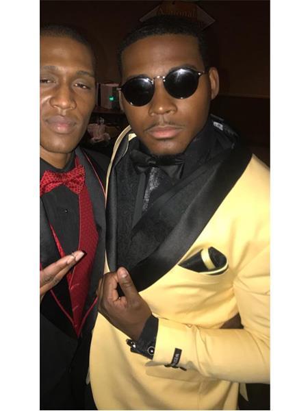 MenÕs Yellow ~ Gold and black Lapel Tuxedo Suit Jacket & pants