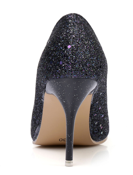 Milanoo Women Dress Shoes Silver High Heels Pointed Toe Slip On Pumps