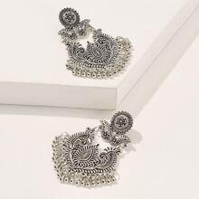 Fringe Detail Abstract Flower Drop Earrings 1pair