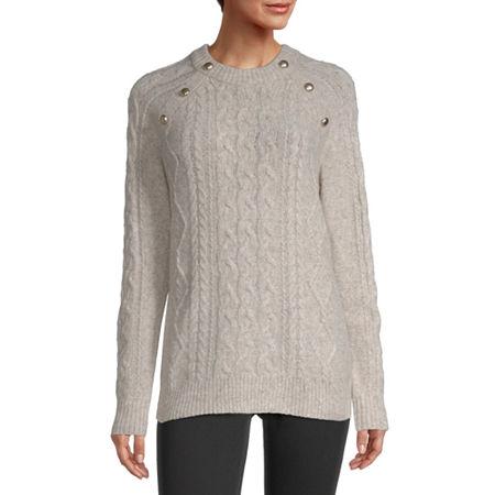 Liz Claiborne Womens Crew Neck Pullover Sweater, Xx-large , White