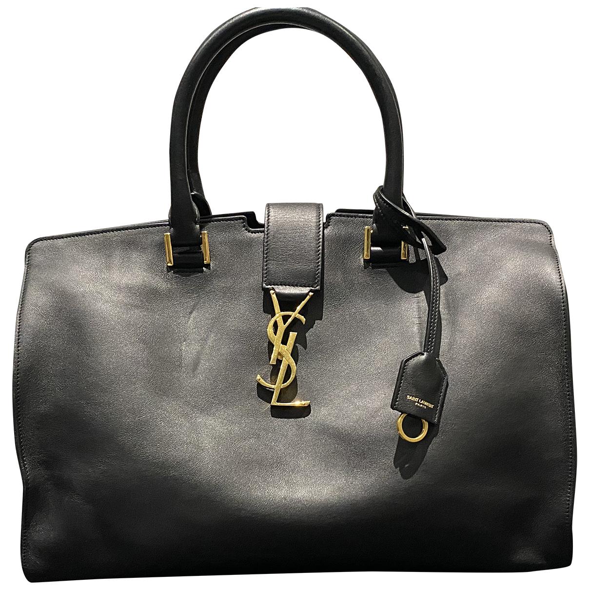 Saint Laurent Monogram Cabas Handtasche in  Schwarz Leder