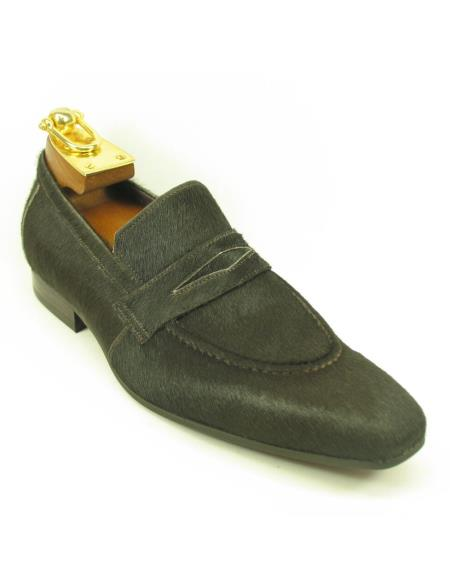 Men's Fashionable Slip On Style Calfhair Brown Shoes