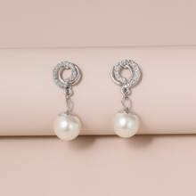Rhinestone Inlaid Faux Pearl Drop Earrings