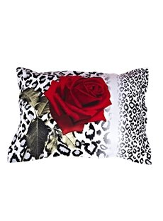 3D Red Rose and Leopard Pattern Cotton 2-Piece Pillowcases