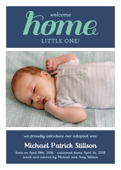 Adoption Announcements 5x7 Folded Cards, Standard Cardstock 85lb, Card & Stationery -Welcome Home Adoption Boy