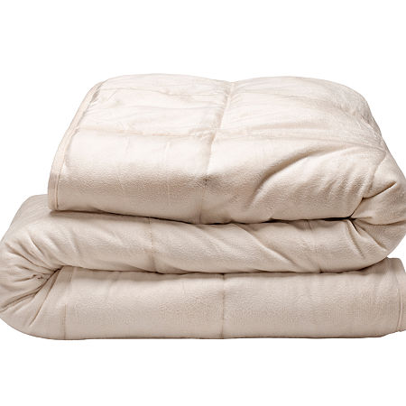 Tranquility 18lb Weighted Plush Blanket, One Size , Beige