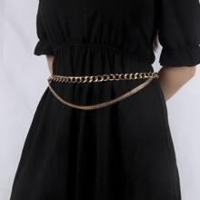 Cinturon con cadena con diamante de imitacion