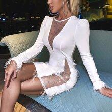 Figurbetontes Kleid mit Kontrast Netzstoff, Strass Dekor und Feder Detail
