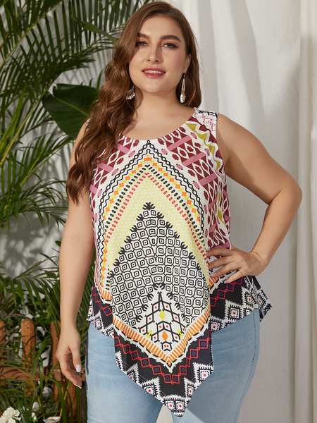 Yoins Plus Size Scoop Neck Tribal Sleeveless Tank Top