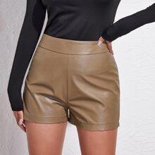 High Waist PU Leather Shorts