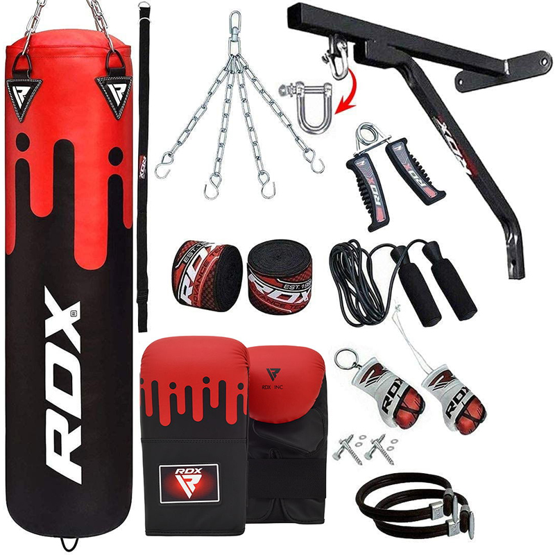 RDX F9 17pc Punching Bag Set Unfilled 5ft with Mitts Red/White/Black