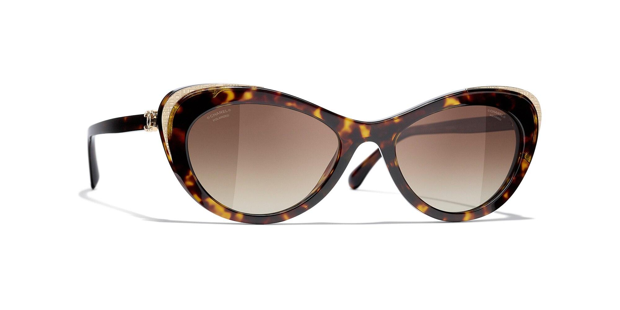 Chanel Woman  Cat Eye Sunglasses CH5432 -  Frame color: Dark Tortoise & Gold, Lens color: Brown