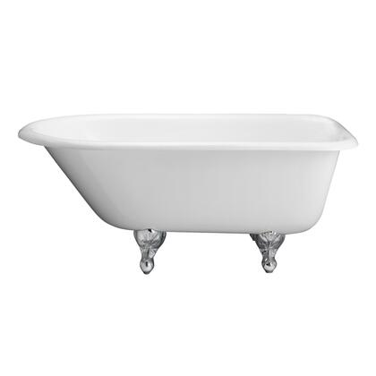 CTRN67-WH-WH Brocton Cast Iron Roll Top WH  68  No Holes  White