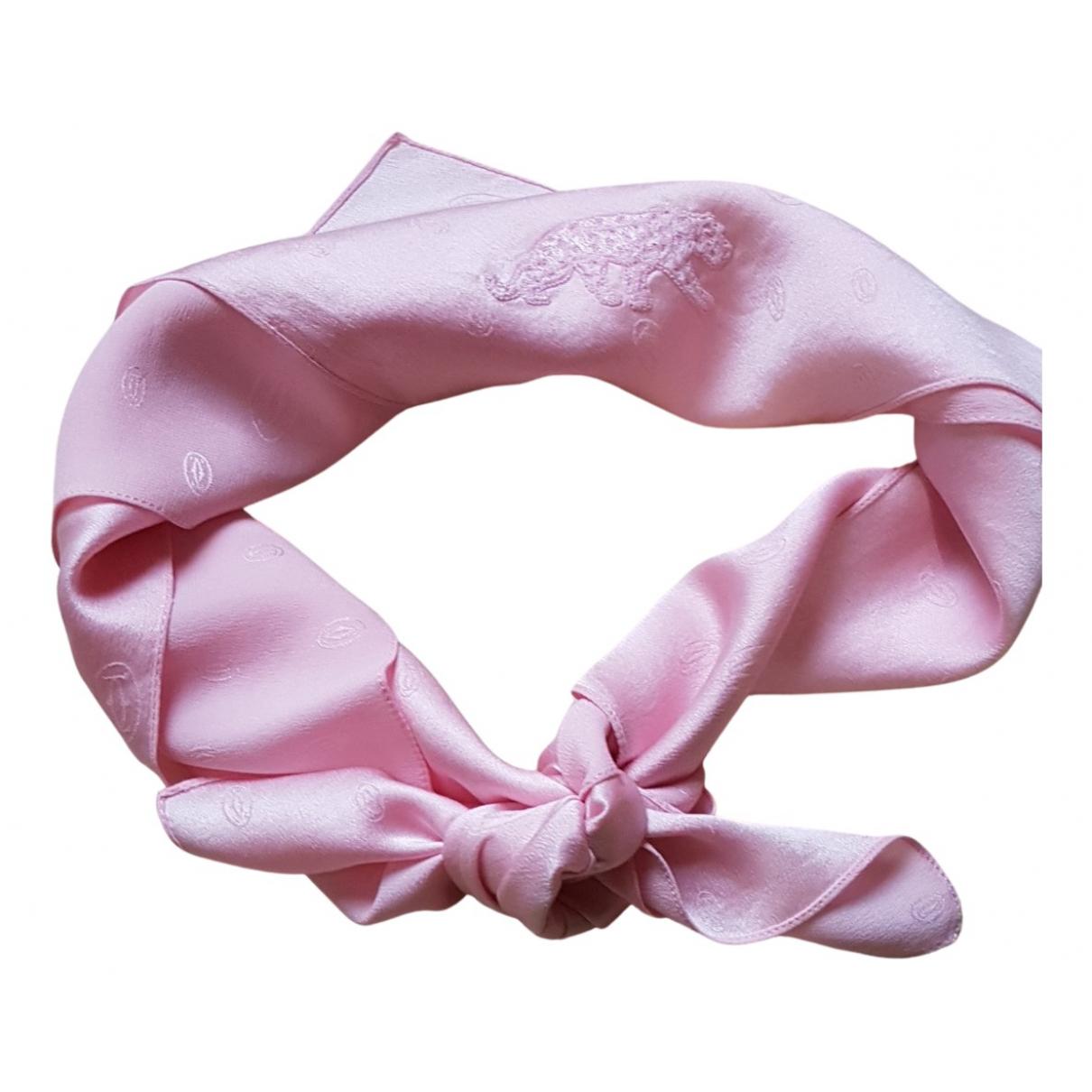 Cartier - Foulard   pour femme en soie - rose