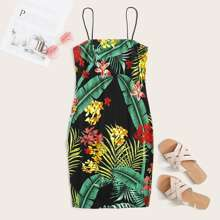Vestido slip con estampado tropical