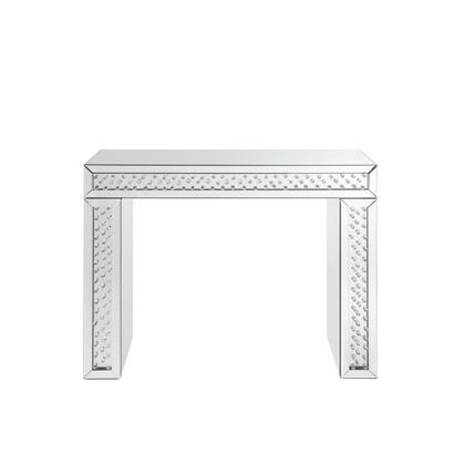 BM185336 Mirror Accented Wood And Glass Vanity Desk With Faux Crystal Inlay