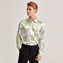 Camisa de saten con estampado floral
