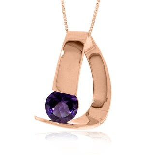 1.00 Carat 14K Solid Gold Modern Necklace with Natural  Amethyst (24 Inch - Rose)