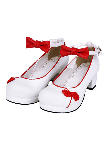 Milanoo Chinese Style Lolita Footwear Embroidery Bow Two Tone Ankle Strap Terry Chunky High Heel Lolita Shoes