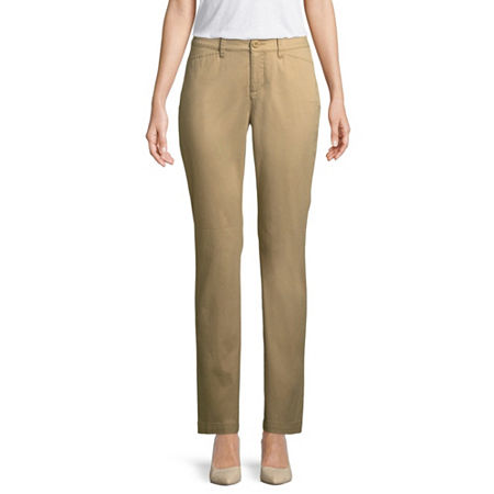 St. John's Bay Womens Mid Rise Straight Flat Front Pant, 16 , Beige