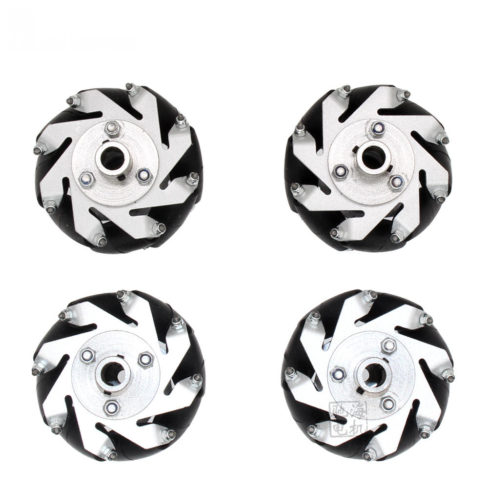 Chihai 4pcs 60mm Aluminium Mecanum Wheels Set Universal Wheels with 4/6/8mm Motor Shaft Coupling for Robot Car