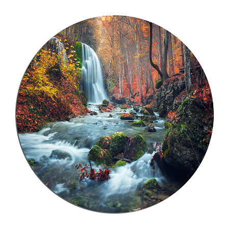 Design Art Autumn Mountain Waterfall Long View Circle Metal Wall Art, One Size , Orange