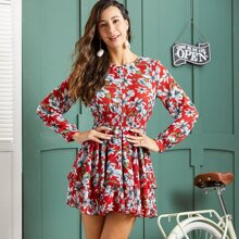 Floral Print Shirred Waist Layered Dress