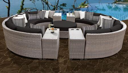 Florence Collection FLORENCE-11b-BLACK 11-Piece Patio Set 11b with 2 Armless Chair   4 Cup Table   1 Round Coffee Table   4 Curved Armless Chair -