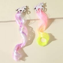 2pcs Girls Unicorn Decor Hair Wig Charm Hair Clip