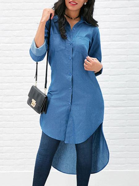 Milanoo Camisa alta baja Cuello azul descubierta Casual manga larga Tops