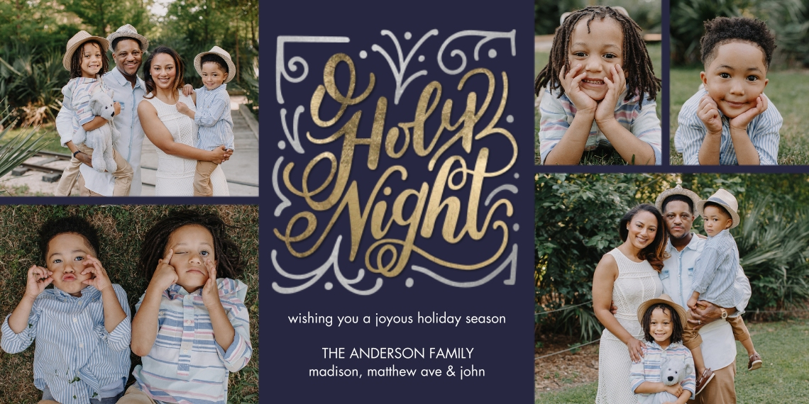 Christmas Photo Cards Flat Glossy Photo Paper Cards with Envelopes, 4x8, Card & Stationery -Christmas O Holy Night by Tumbalina