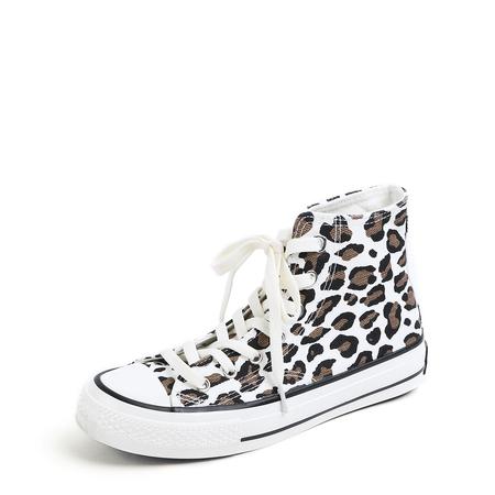 Yoins White Lace-up Leopard Pattern Canvas Boots