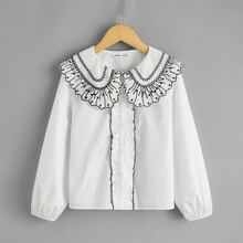 Girls Embroidered Detail Peter-pan-collar Frill Trim Blouse