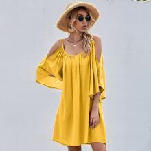 Schulterfreies einfarbiges Tunika Kleid