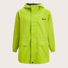 Mantel mit Reissverschluss, Buchstaben Grafik, Taschen Klappen vorn und Kapuze