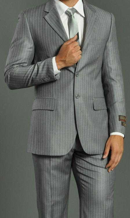 Mens Three Button Light Grey Striped Suit