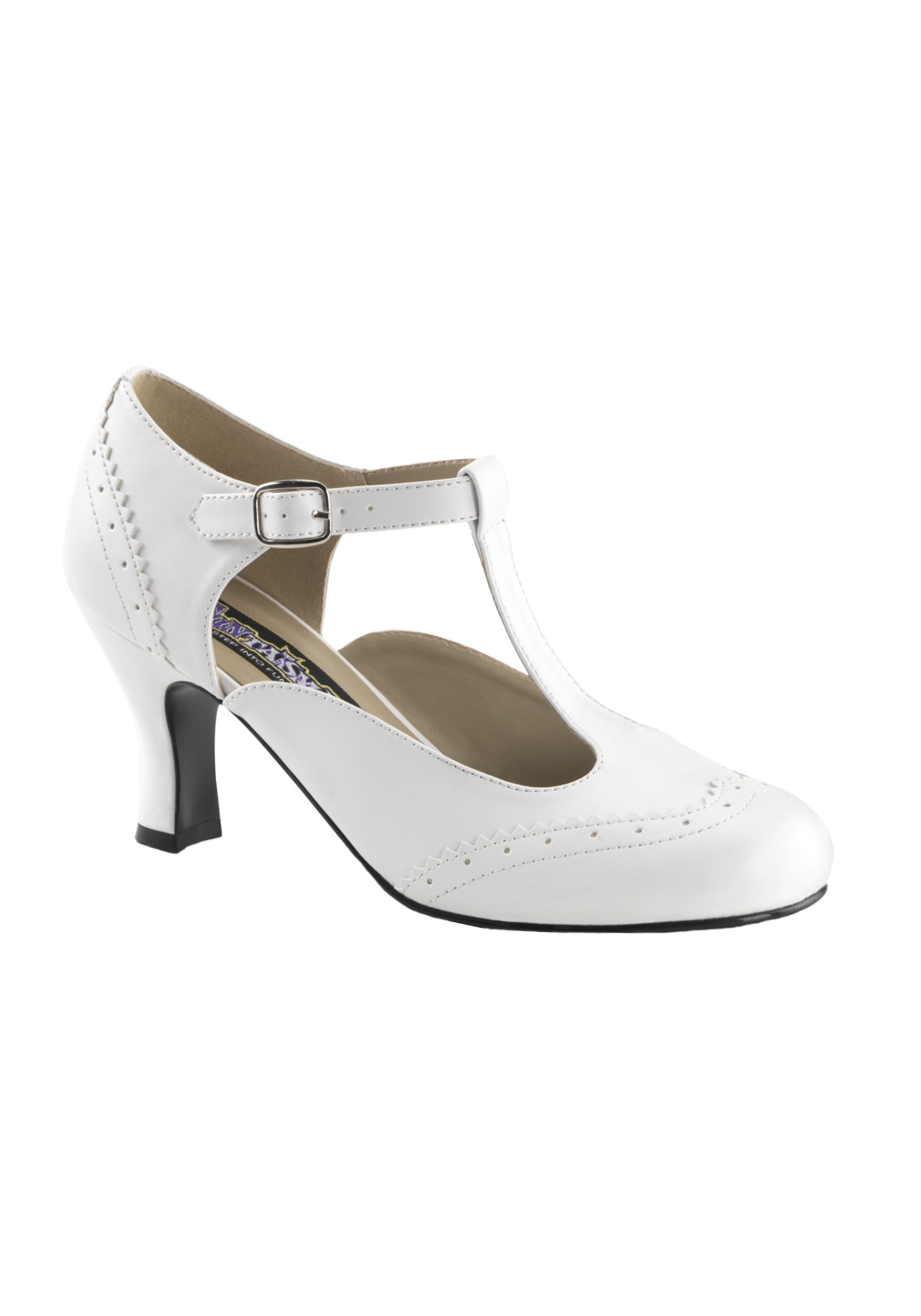 White Flapper Costume Shoes for Women