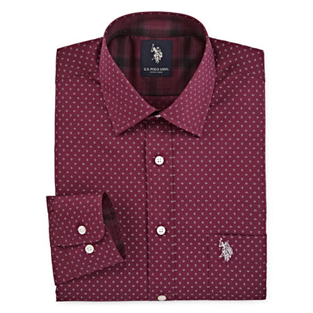 U.S. Polo Assn. Mens Spread Collar Long Sleeve Stretch Dress Shirt, 17-17.5 38-39, Red