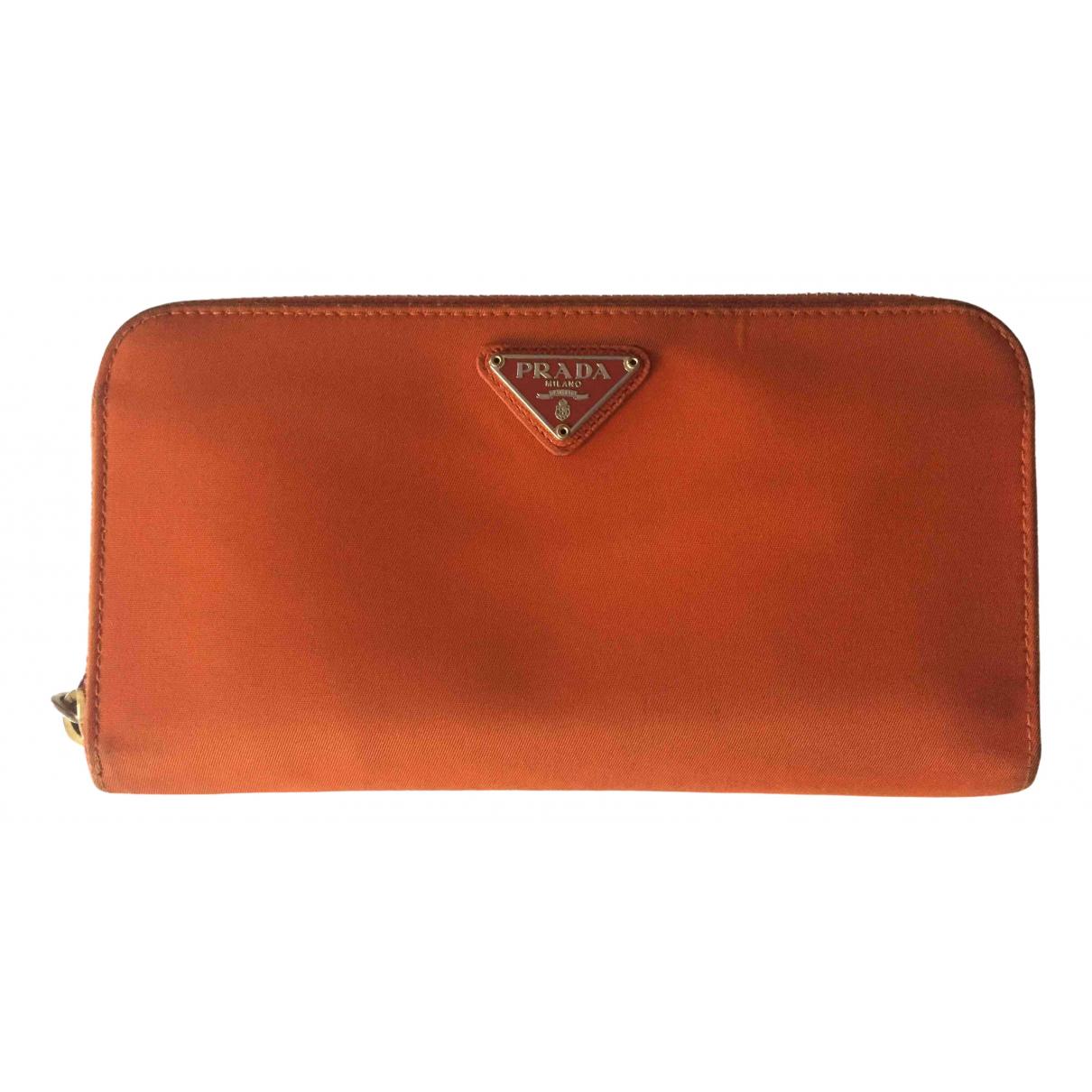 Prada - Portefeuille Tessuto  pour femme en toile - orange