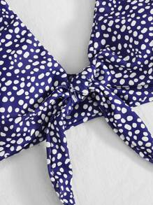 Plus Dalmatian Knot Front Bikini Top