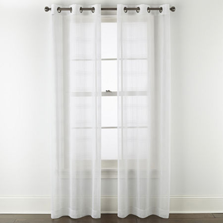 Regal Home Windowpane Sheer Grommet-Top Set of 2 Curtain Panel, One Size , White