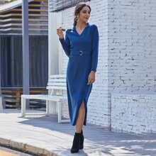 Solid D-Ring Belted Wrap Sweater Dress