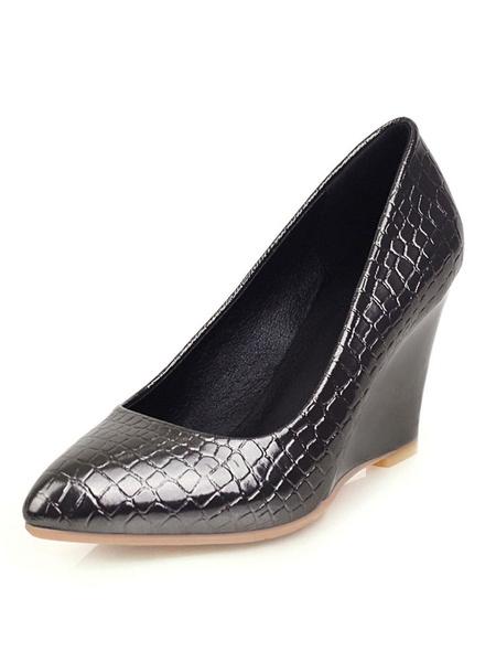 Milanoo Zapatos de cuña para mujer Zapatos de talla grande para mujer con punta estrecha Croco Print
