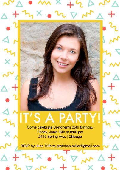 Birthday Party Invites 5x7 Cards, Premium Cardstock 120lb, Card & Stationery -Memphis Pattern Invite