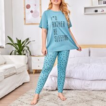 Pijamas de Talla Grande Lunares Casual