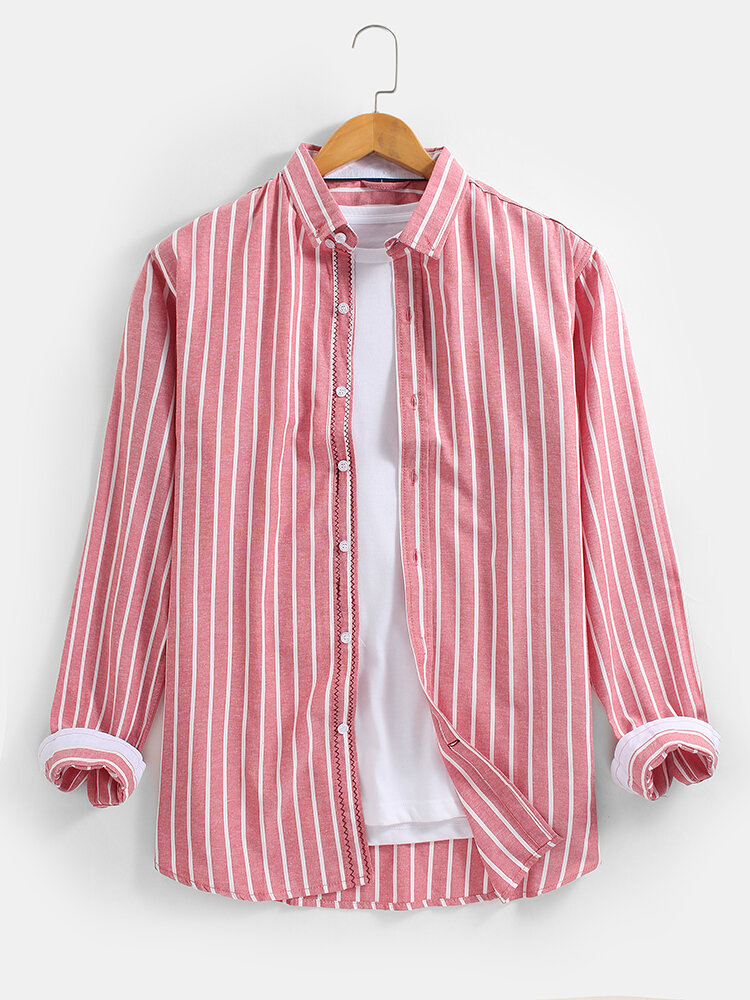 Mens 100% Cotton Striped Button-Down Collar Casual Long Sleeve Shirts