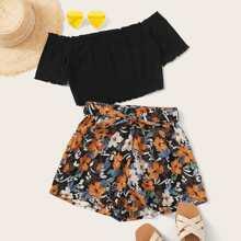 Lettuce Trim Bardot Crop Top & Floral Shorts