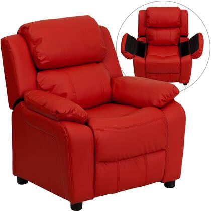 Deluxe Collection BT-7985-KID-RED-GG Kids Recliner with Storage Arms  Headrest Cover  Contemporary Style  Solid Hardwood Frame Construction and Vinyl
